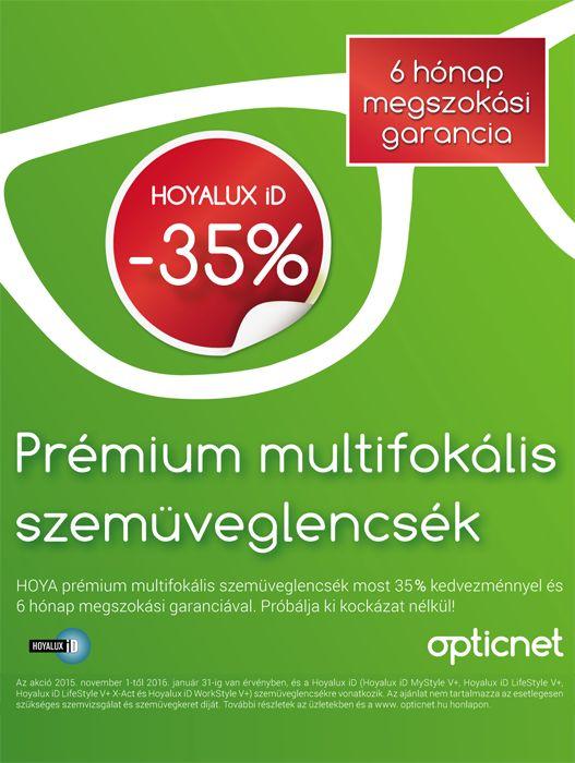 prémium multifokális lencsék 35% kedvezménnyel és megszokási garanciával